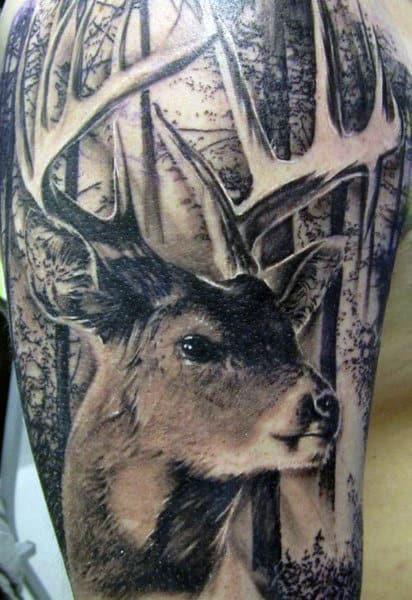 Deer Tattoo Ideas For Men On Upper Arm