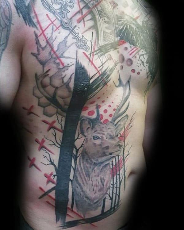 Deer Trash Polkamens Full Chest Tattoos