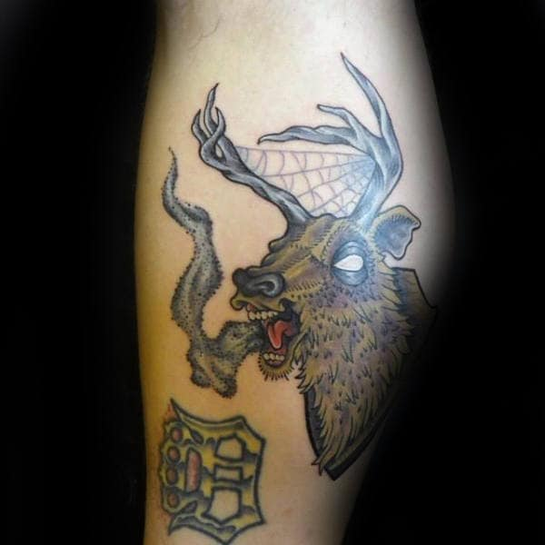 Deer With Antler Spider Web Mens Upper Arm Tattoo