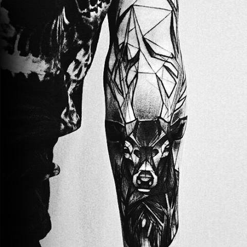 Deer With Geometric Design Guys Unique Forearm Tattoo