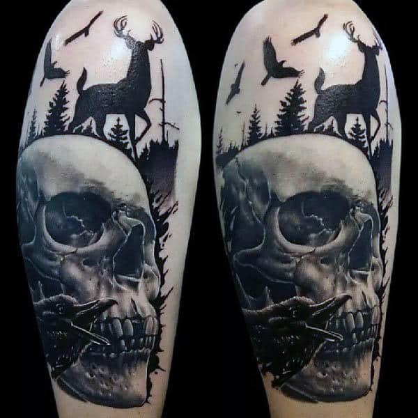 Deer With Skull Silhouette Mens 3d Tattoo On Arm