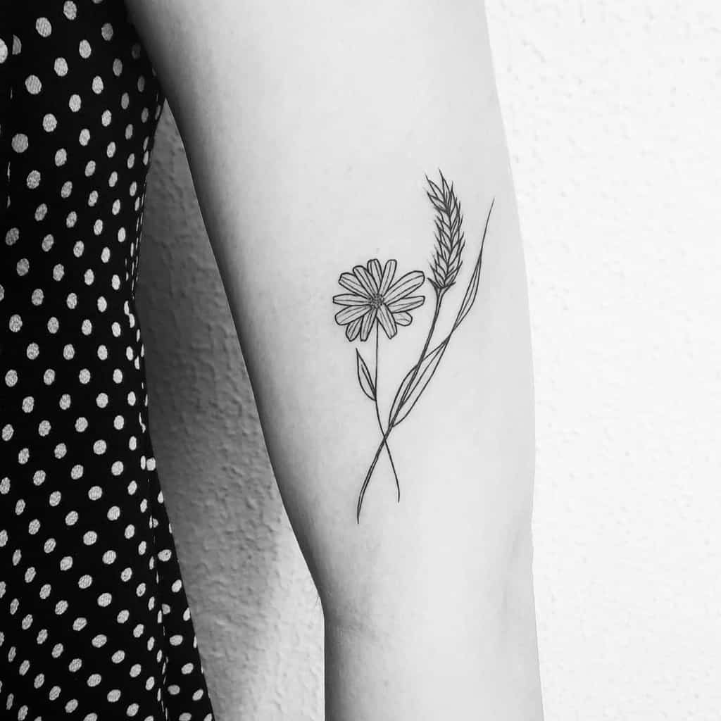Bicep tattoo black and grey fine line delicate daisy and wheat