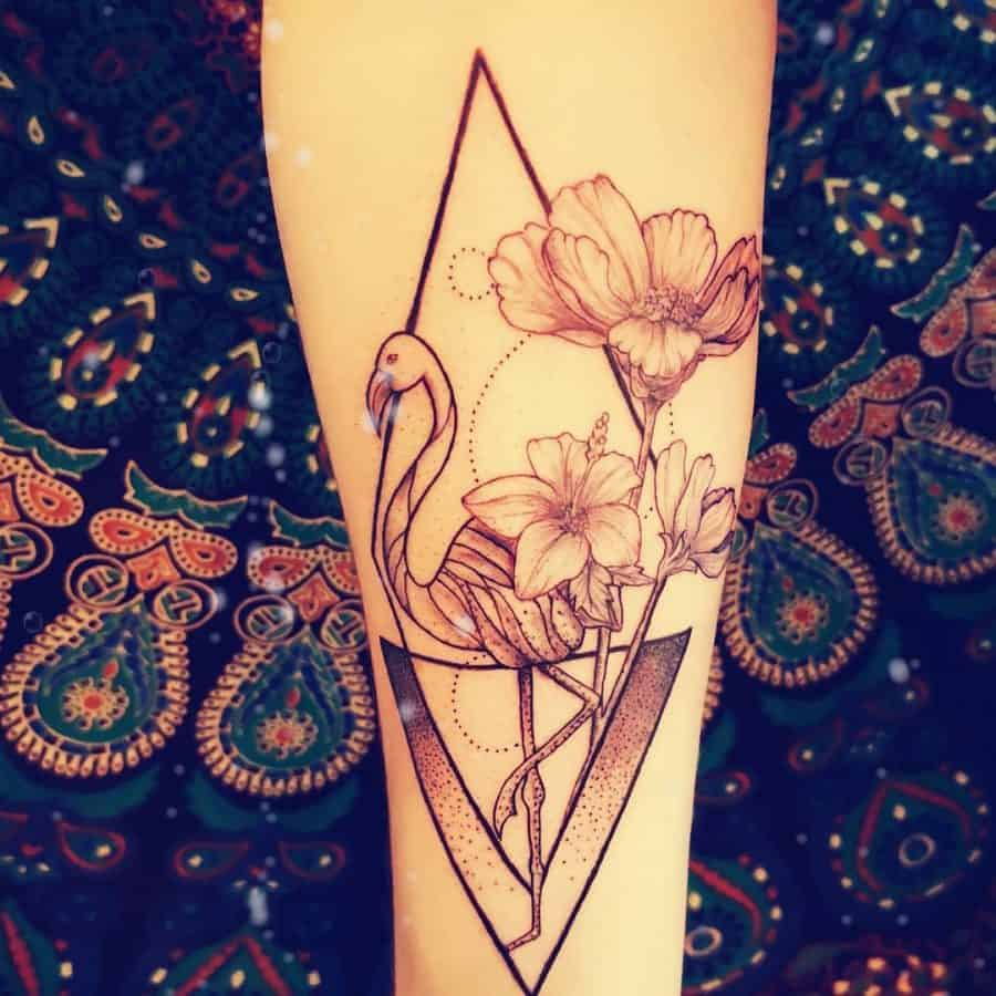 Delicate Roses Long Leg Flamingo Framed By Triangles Geometric Tattoo