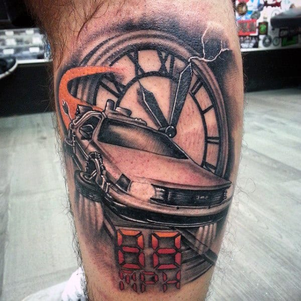 Delorean Car Back To The Future Mens Leg Tatoos