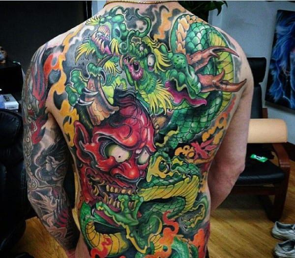 Demon Japanese Modern Male Full Back Tatotos