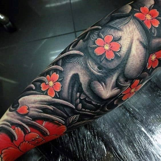 Demon Mask 3d Cherry Blossom Japanese Tattoos For Males