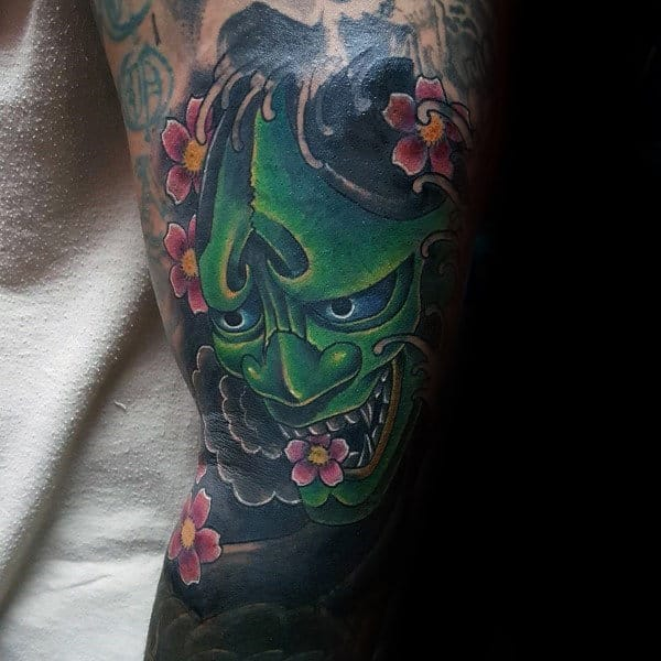 Demon Mask Guys Cherry Blossom Japanese Tattoo On Man