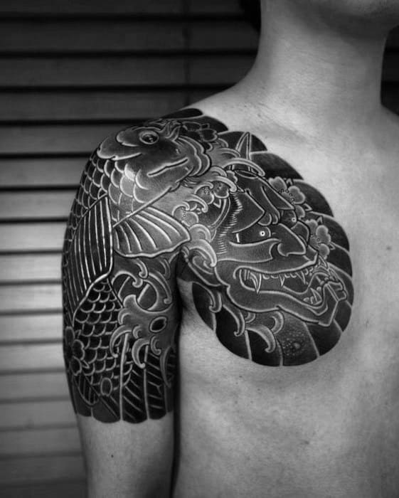 Demon Mask Guys Japanese Chest Cover Up Tattoos