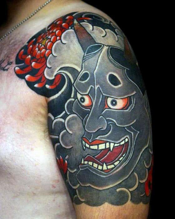Demon Mask Japanese Male Cloud Half Sleeve Tattoo