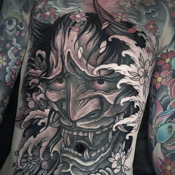 Demon Mask Oni Guys Wave Japanese Full Chest Tattoos