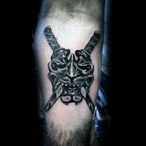 Demon Mask With Crossed Katanas Mens Inner Forearm Tattoo