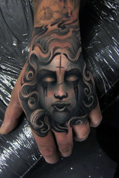 Demon Medusa Tattoo For Guys On Hands