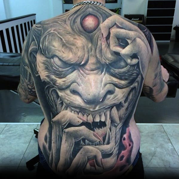 Demon Portrait Guys Badass Back Tattoo