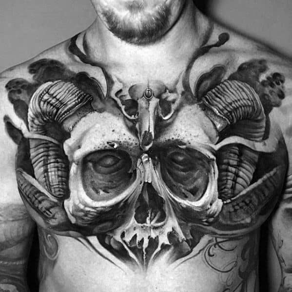 Demon Skull Unbelievable 3d Male Upper Chest Tattoo Ideas