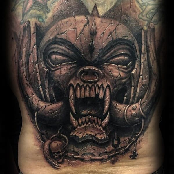Demon Stone Mens Full Back Tattoos
