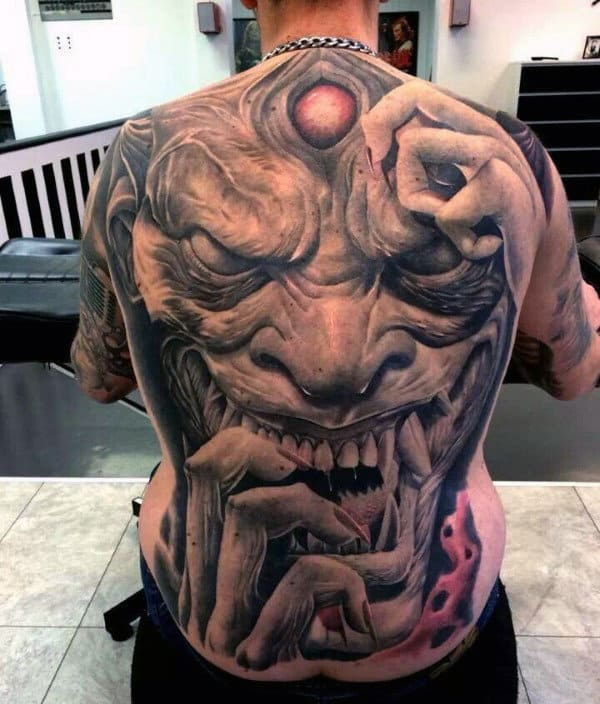 Demonic Crazy Full Back Tattoos For Men