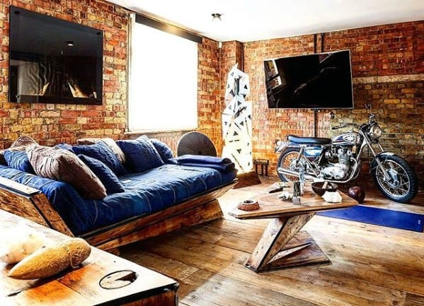 Denim Couch With Wood Frame Bachelor Pad Furniture