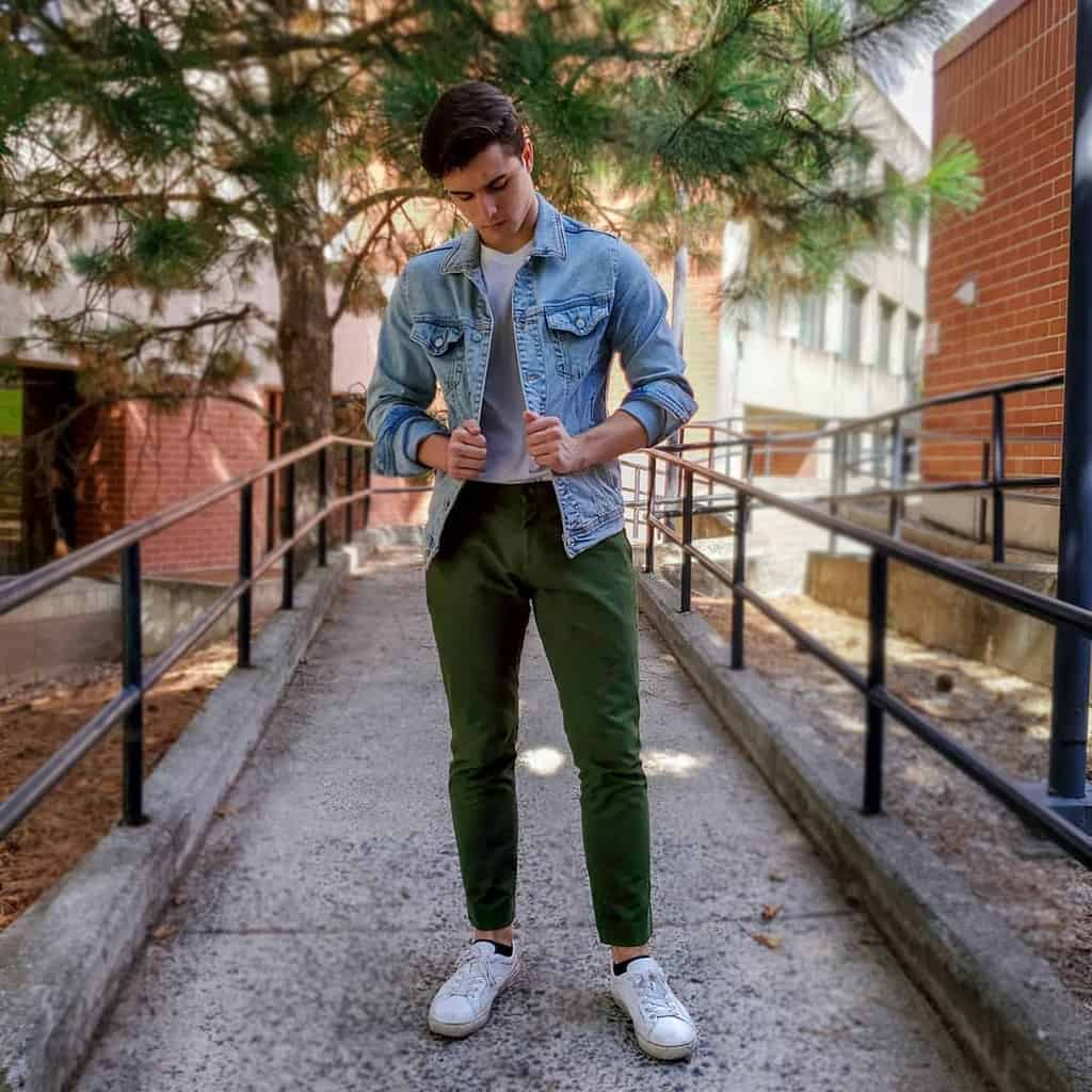Denim Jacket Green Pants Outfit