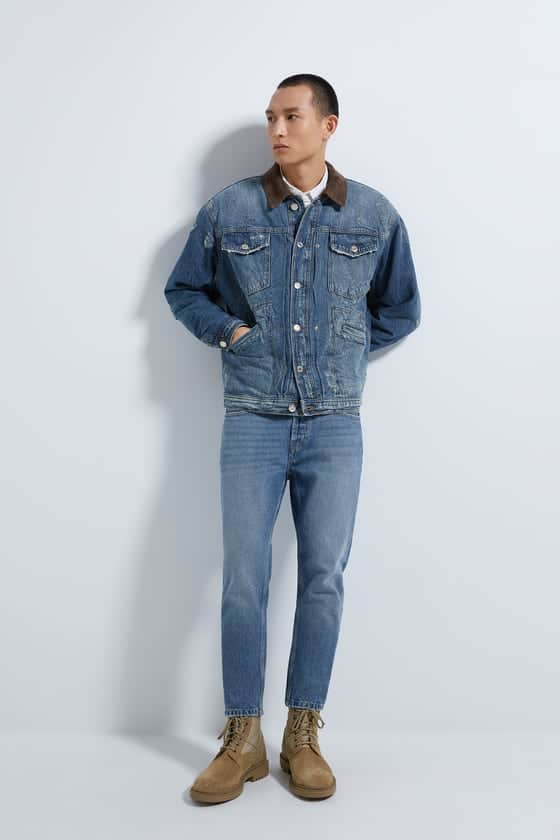 denim jacket with matching collar