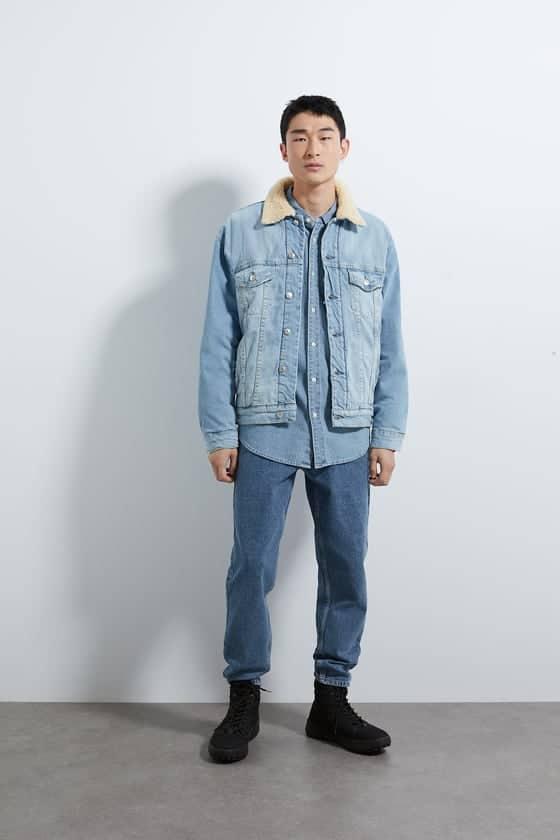 denim jacket with fleece trim