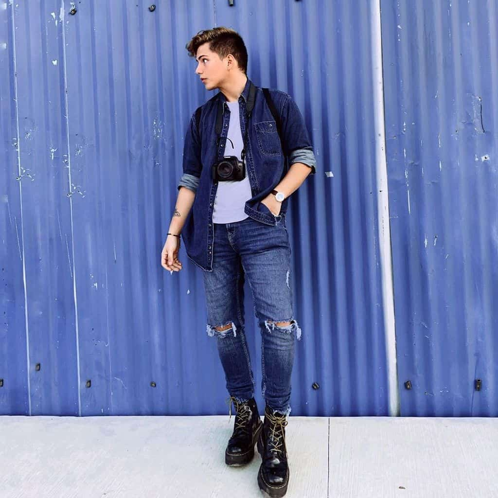 Denim Man Grunge Outfit
