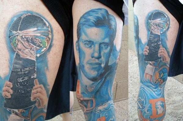 Denver Broncos Themed Mens Full Leg Sleeve Tattoos