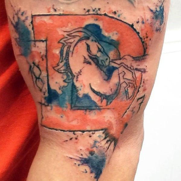 Denver Broncos Watercolor Guys Blue An Orange Arm Tattoo Designs