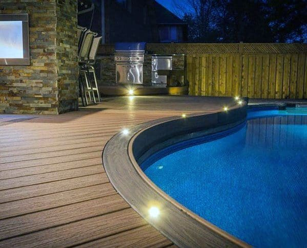 Design Ideas Deck Lighting Around Pool Border Edge