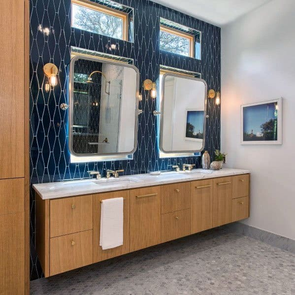 Design Ideas For Blue Tile Bathroom