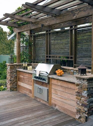 Design Ideas For Built In Grill Covered Wood Pergola