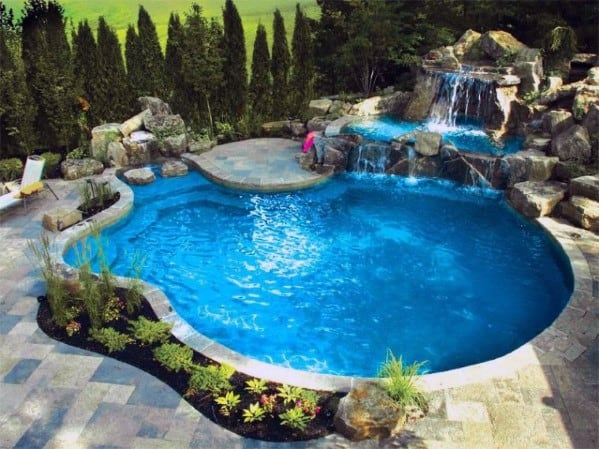 Design Ideas For Pool Landscaping Waterfall With Small Plants