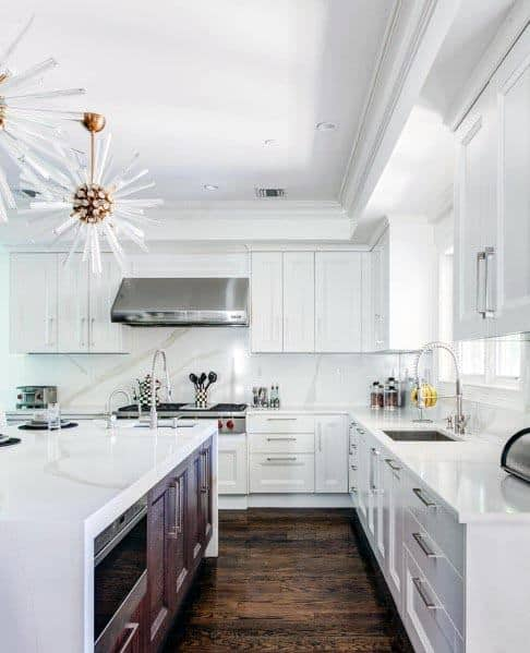 Design Ideas For White Kitchen With Marble Countertops