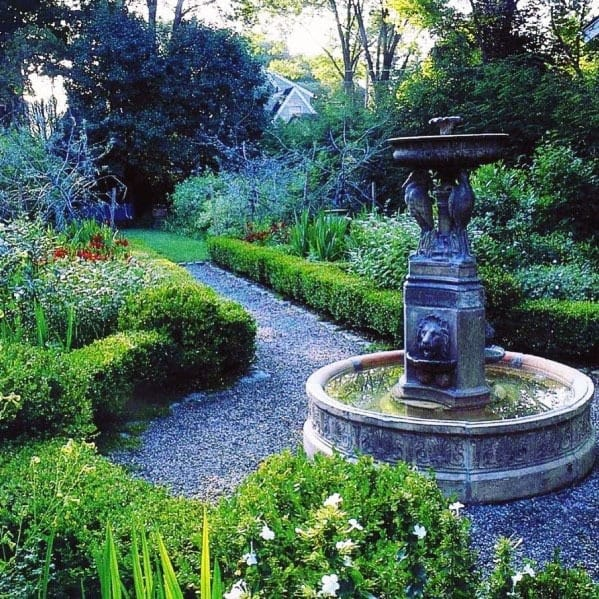 Design Ideas Gravel Walkway With Water Fountain Feature