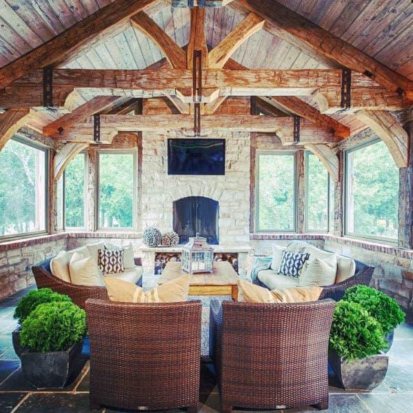 Design Ideas Patio Ceiling Rustic Wood Beams