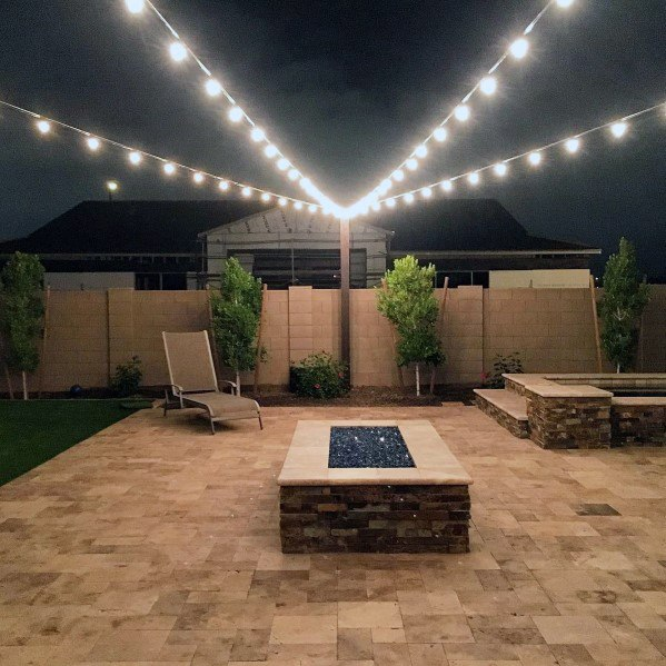 Design Ideas Patio String Lighting Attached To Pole
