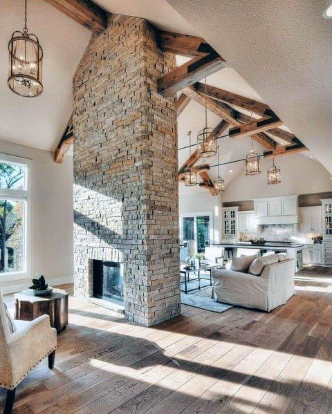 Design Ideas Stacked Stone Fireplace Living Room