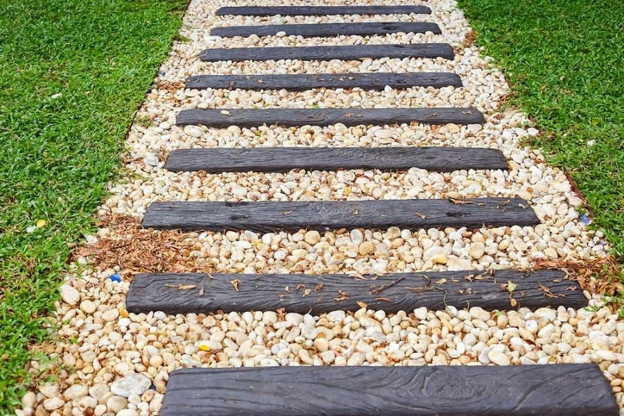 Design Ideas Wooden Walkway Cut Logs