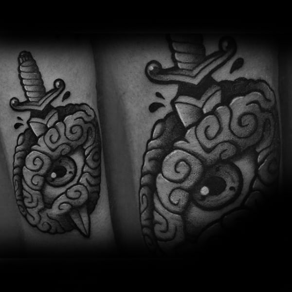 Designer Eye And Dagger Tatoto Male Forearms