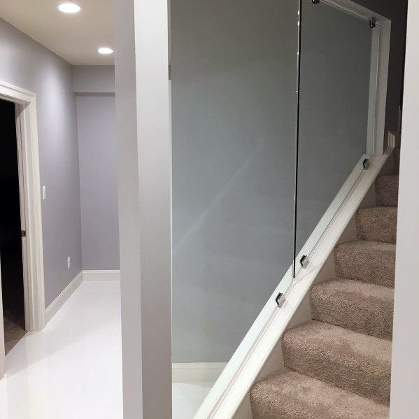 Designs Basement Stairs Glass Railing