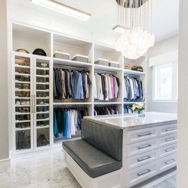 Designs Closet Lighting Chandelier In Center Of Room With Island And Bench Seat