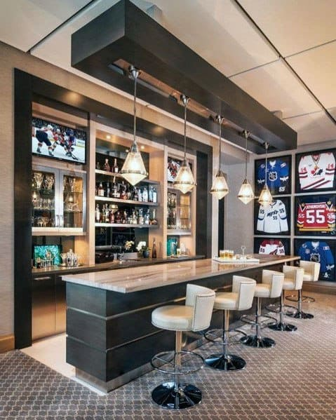 Designs Finished Basement Sports Themed Bar