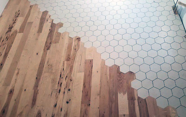 Designs For Hexagon Tiles To Hardwood Floor Transition