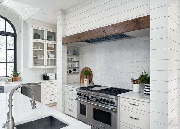 Designs Kitchen Hood Shiplap Painted White With Wood Accent Board