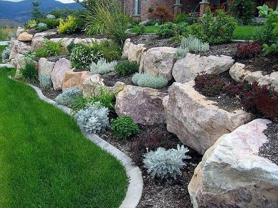 Designs Slope Hill Landscaping Boulders
