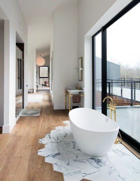 Designs Tile To Wood Floor Transition Bathroom Bathtub