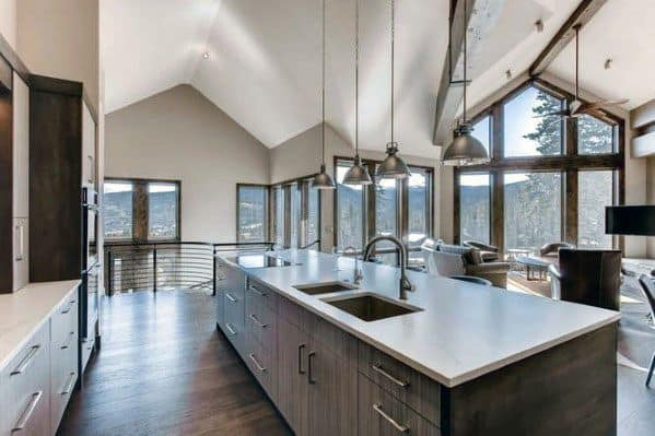 Designs Vaulted Ceiling In Kitchen Of Contemporary Home