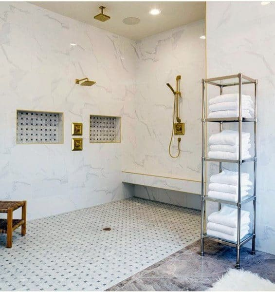 Designs White Bathroom With Gold Fixtures In Shower