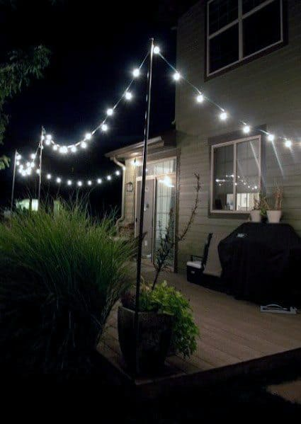 Designs Wood Deck Patio String Light Ideas
