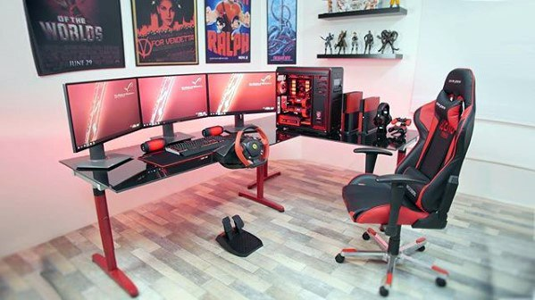 50 gaming man cave design ideas for men manly home retreats for Man cave desk