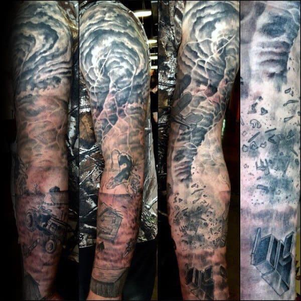 Destructive Mens Full Sleeve Tornado Tattoo Designs